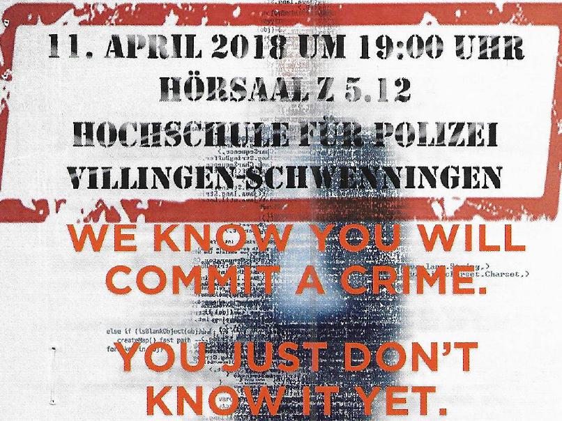 """Veranstaltungsreihe """"Datenschutz als Kulturaufgabe"""" und der Dokumentarfilm """"PRE-CRIME"""" finden sehr gute Resonanz"""