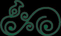 Ein blumiges Ornament aus grünem Schmiedeeisen